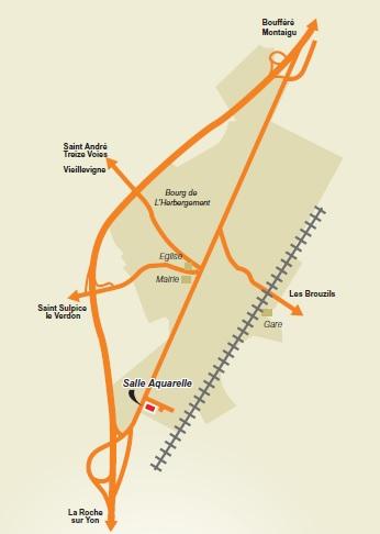 Plan d'accès Salle Aquarelle - L'Herbergement